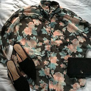 American Eagle Sheer Black Floral Button Down
